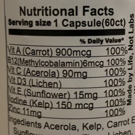 Nutritional facts for organic multivitamin