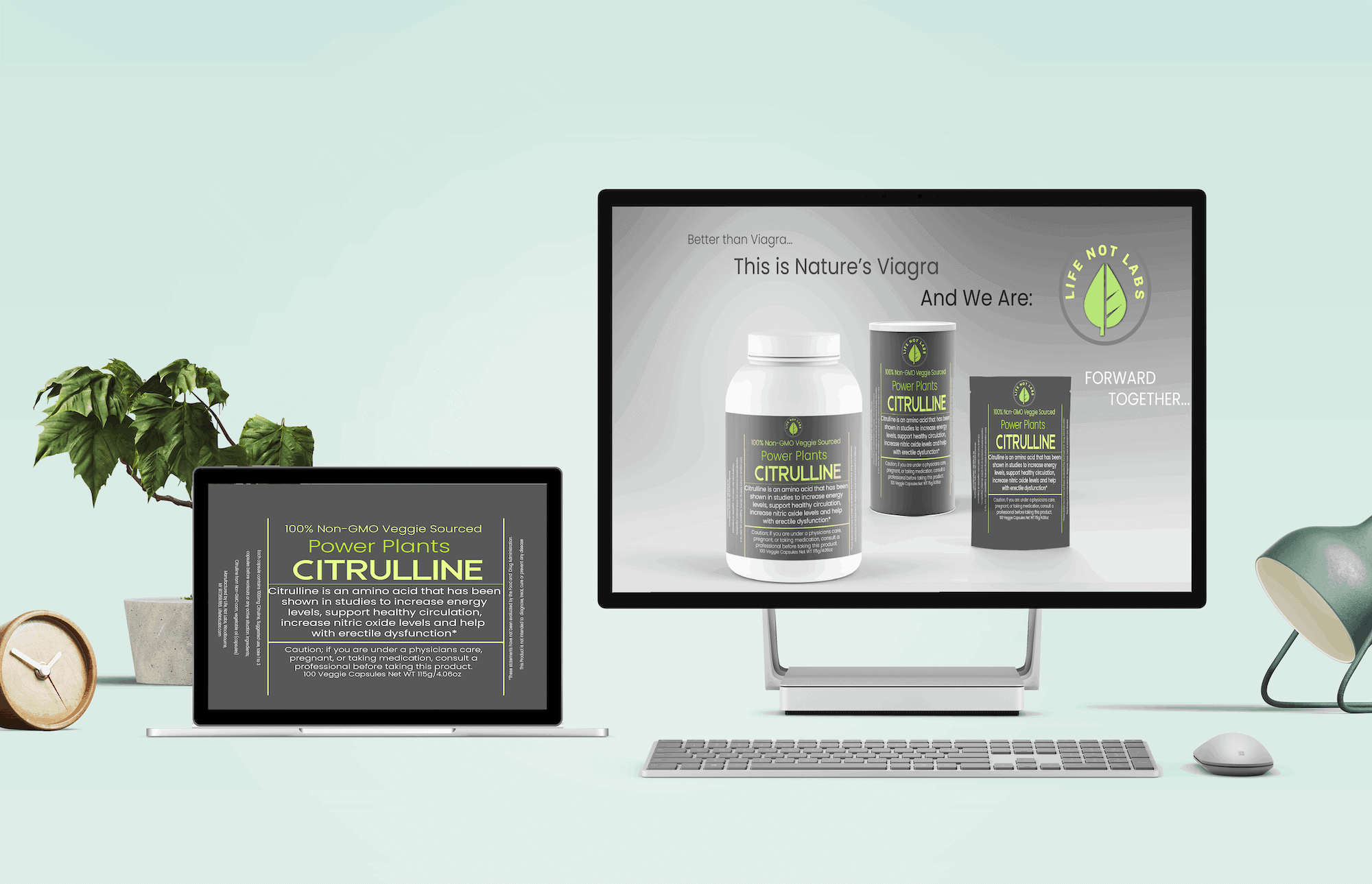 A desk with computer showing images of Life Not Labs Citrulline, nature's viagra Vitamins