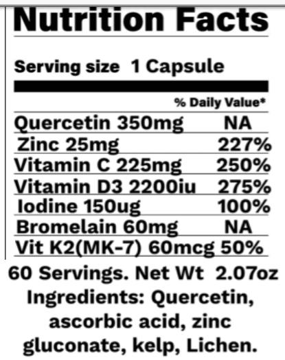Immune Support Zinc, Quercetin, vitamin dD vitamin C