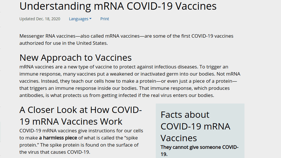 A screenshot with information from CDC website about mRNA COVID-19 Vaccines