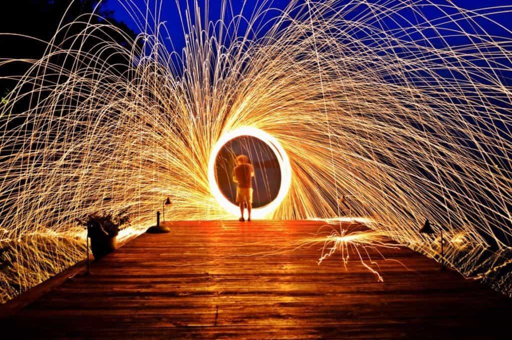Steel wool long exposure photography