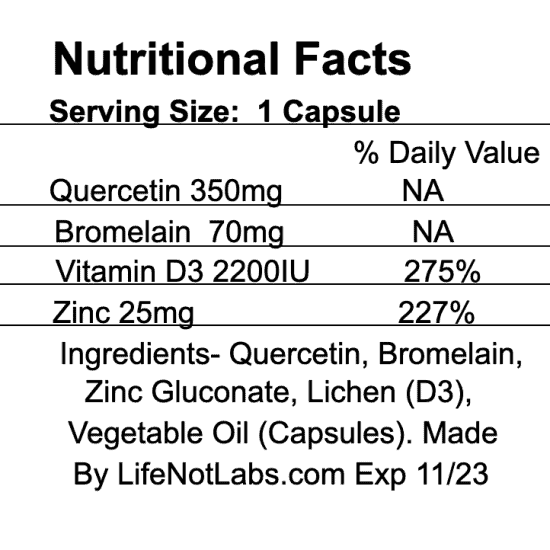 Nutritional facts for our quercetin, bromelain, zinc and vitamin D immune support multivitamin 4EN